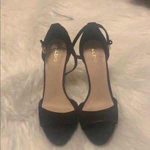 Aldo Black Suede Strappy Heels - Size 8.